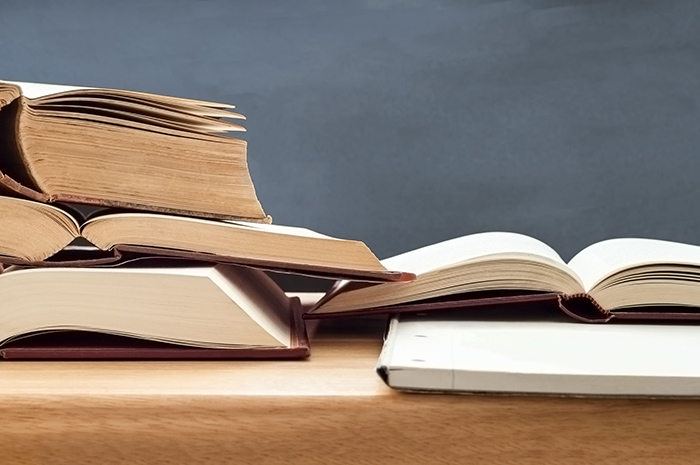 Decorative image of text books